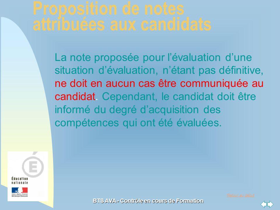 Retour au début BTS AVA - Contrôle en cours de Formation La note proposée pour lévaluation dune situation dévaluation, nétant pas définitive, ne doit en aucun cas être communiquée au candidat.