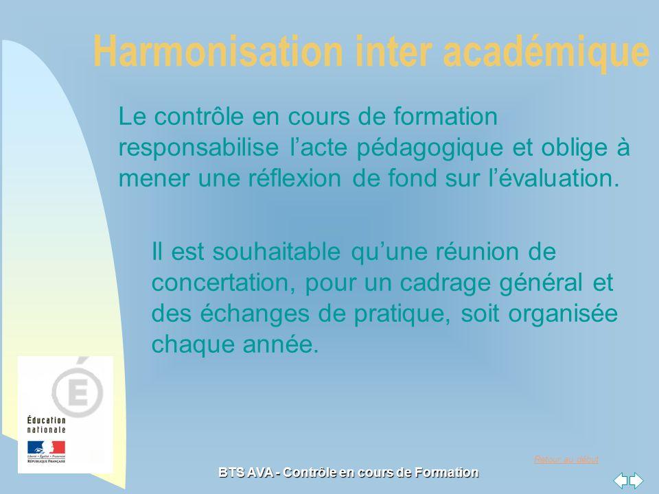 Retour au début BTS AVA - Contrôle en cours de Formation Harmonisation inter académique Le contrôle en cours de formation responsabilise lacte pédagogique et oblige à mener une réflexion de fond sur lévaluation.