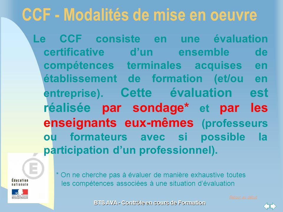 Retour au début BTS AVA - Contrôle en cours de Formation CCF - Modalités de mise en oeuvre Le CCF consiste en une évaluation certificative dun ensemble de compétences terminales acquises en établissement de formation (et/ou en entreprise).