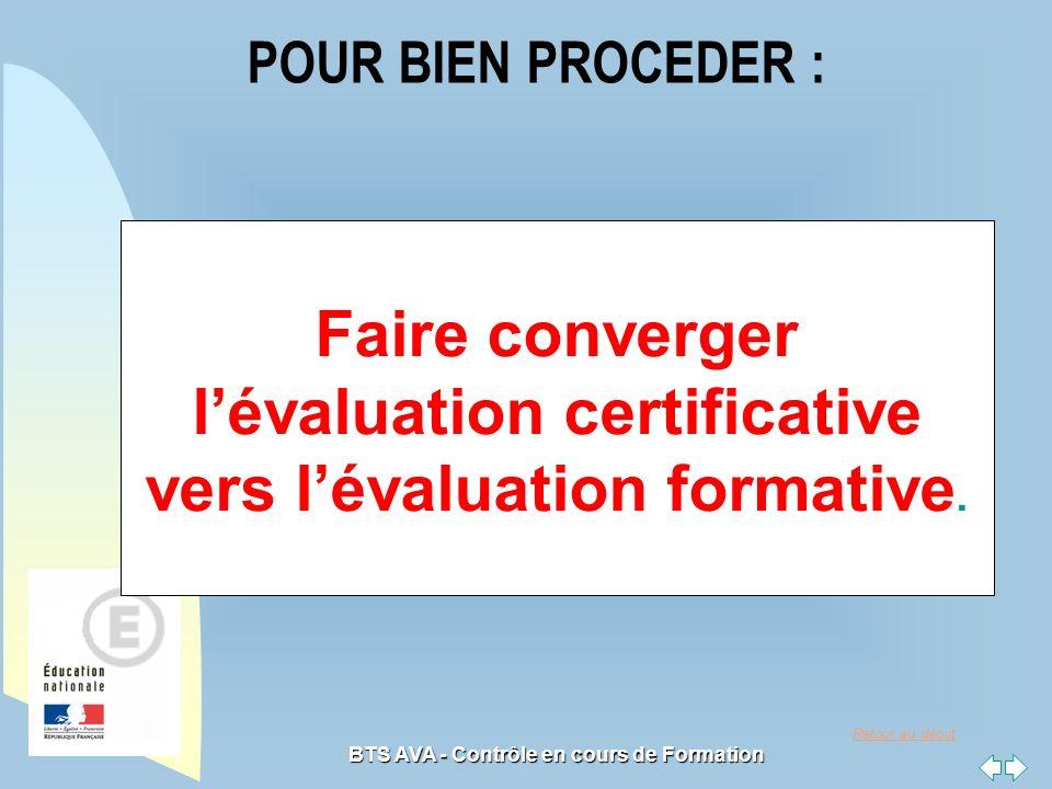 Retour au début BTS AVA - Contrôle en cours de Formation POUR BIEN PROCEDER : Faire converger lévaluation certificative vers lévaluation formative.