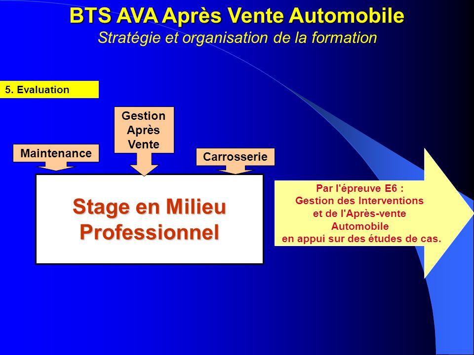 BTS AVA Après Vente Automobile BTS AVA Après Vente Automobile Stratégie et organisation de la formation 5. Evaluation Stage en Milieu Professionnel Ge