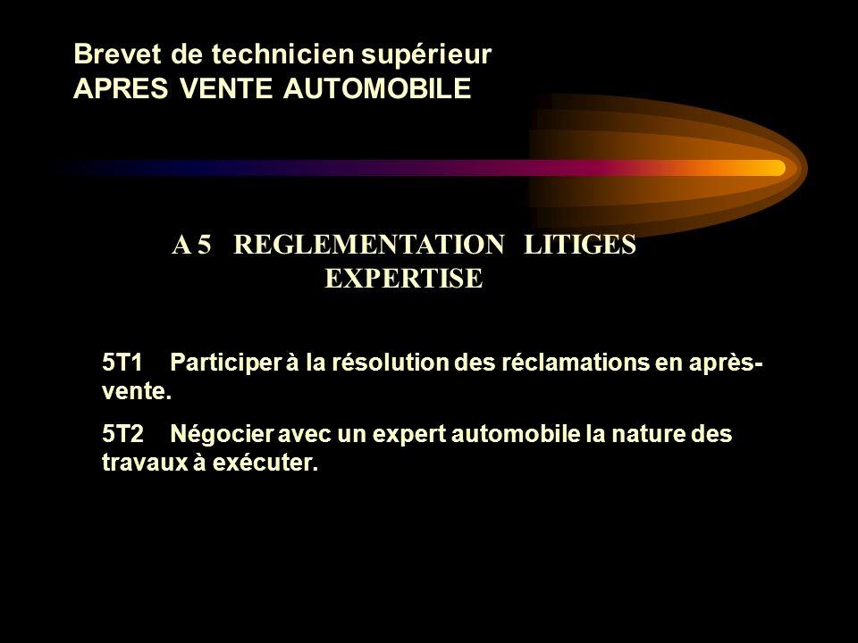 Brevet de technicien supérieur APRES VENTE AUTOMOBILE 4T1 Renseigner et analyser un tableau de bord de gestion datelier. Proposer des solutions et par
