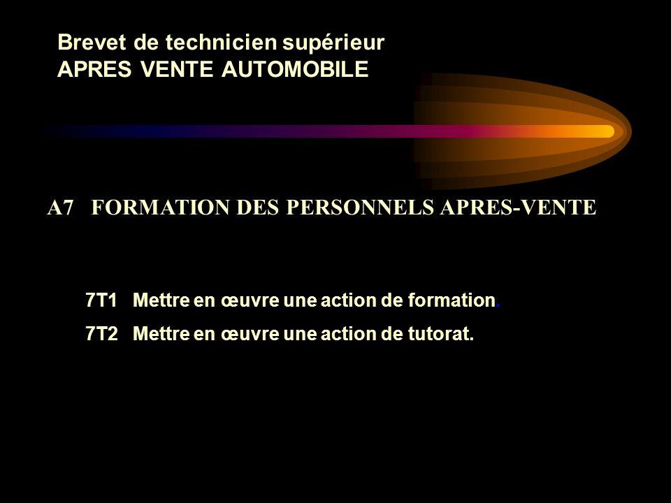 Brevet de technicien supérieur APRES VENTE AUTOMOBILE 6T1 Élaborer les processus dintervention destinés aux réparateurs. 6T2 Analyser les besoins et l