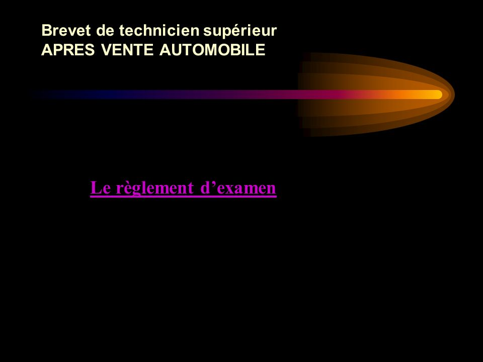 Brevet de technicien supérieur APRES VENTE AUTOMOBILE Les Savoirs : exemple pour S9 1 – Caractéristiques des véhiculesNiveauOption Savoirs1234 VPVP VI