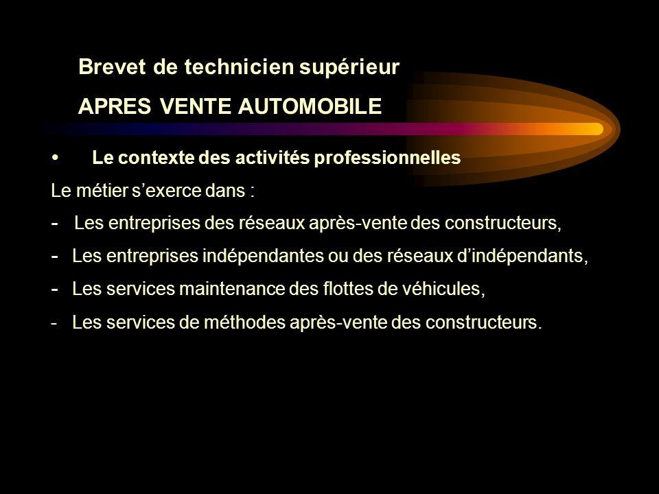 Brevet de technicien supérieur APRES VENTE AUTOMOBILE E5.2 : INTERVENTION DE MAINTENANCE Sous-épreuve E5.2 (Unité 52) (Coefficient 3)