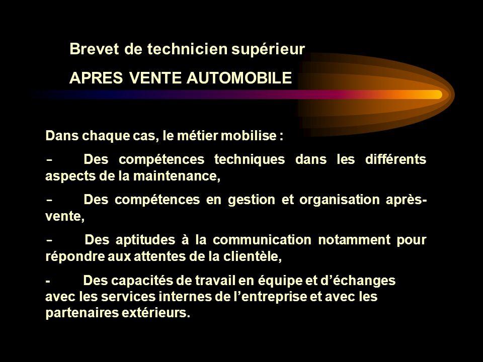 Brevet de technicien supérieur APRES VENTE AUTOMOBILE E6: Gestion des interventions et de laprès vente automobile Épreuve E6 (Unité 6) (Coefficient 4) Epreuve professionnelle de synthèse