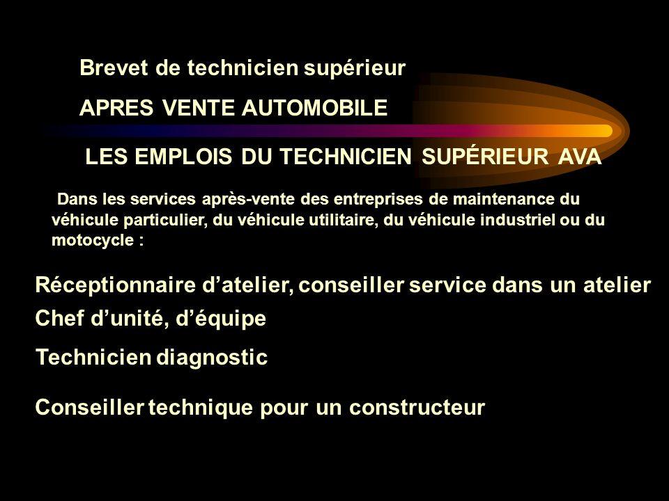 Brevet de technicien supérieur APRES VENTE AUTOMOBILE Dans chaque cas, le métier mobilise : - Des compétences techniques dans les différents aspects d