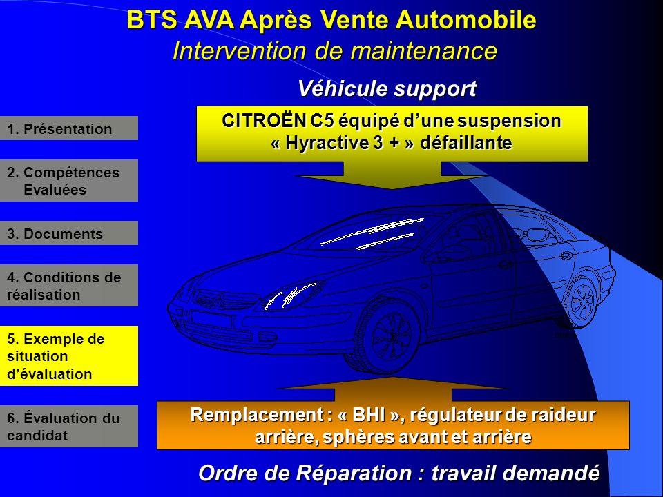 BTS AVA Après Vente Automobile Intervention de maintenance 3. Documents 4. Conditions de réalisation 5. Exemple de situation dévaluation 6. Évaluation