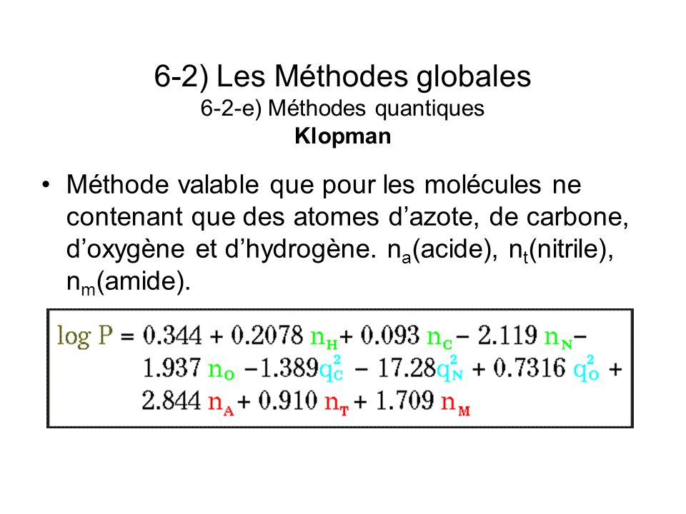 6-2) Les Méthodes globales 6-2-e) Méthodes quantiques Klopman Méthode valable que pour les molécules ne contenant que des atomes dazote, de carbone, d