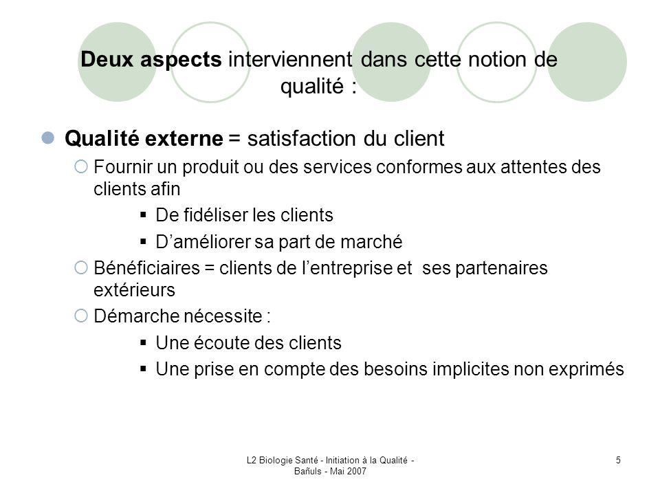 L2 Biologie Santé - Initiation à la Qualité - Bañuls - Mai 2007 76 VI – 2 – Certification ISO LISO na pas vocation à délivrer elle – même les certifications.
