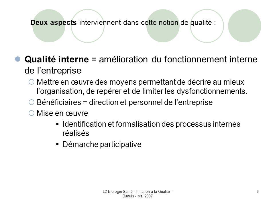 L2 Biologie Santé - Initiation à la Qualité - Bañuls - Mai 2007 87 CONCLUSION