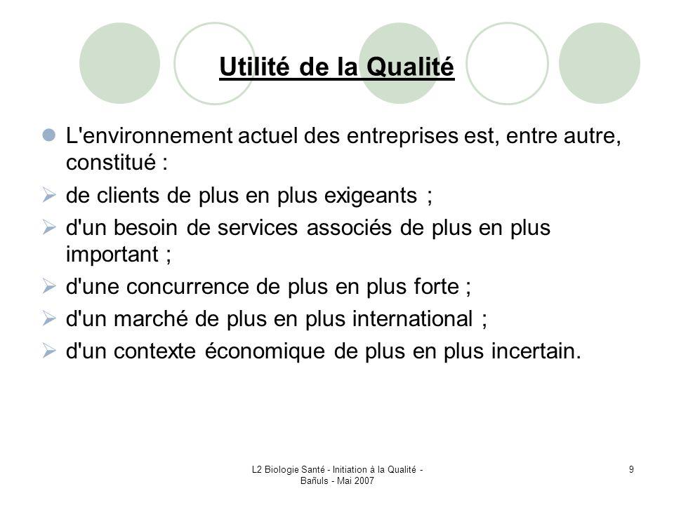 L2 Biologie Santé - Initiation à la Qualité - Bañuls - Mai 2007 50 IV – 5 – Modèle dun système de management de la qualité basé sur les processus