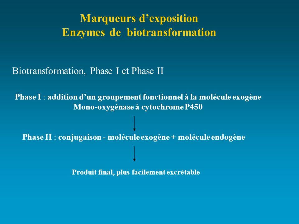 Marqueurs dexposition Enzymes de biotransformation Biotransformation, Phase I et Phase II Phase I : addition dun groupement fonctionnel à la molécule