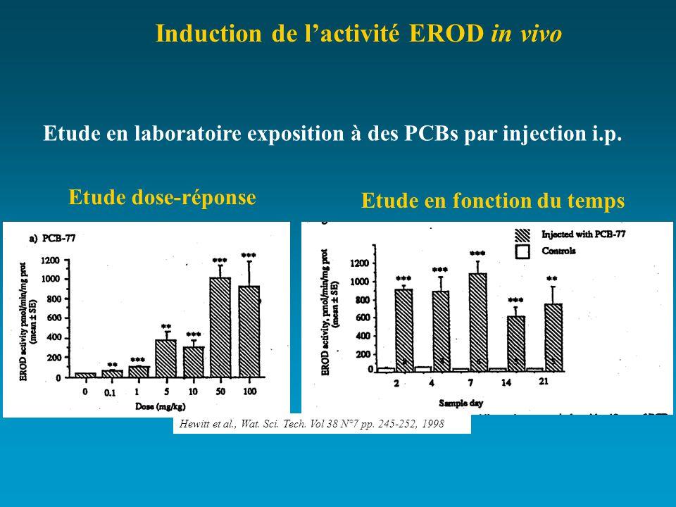 Etude en laboratoire exposition à des PCBs par injection i.p. Etude dose-réponse Etude en fonction du temps Hewitt et al., Wat. Sci. Tech. Vol 38 N°7