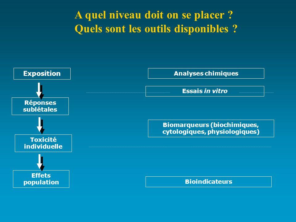 Exposition Réponses sublétales Toxicité individuelle Effets population Analyses chimiques Biomarqueurs (biochimiques, cytologiques, physiologiques) Bi