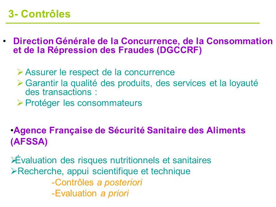 Direction Générale de la Concurrence, de la Consommation et de la Répression des Fraudes (DGCCRF) Assurer le respect de la concurrence Garantir la qua