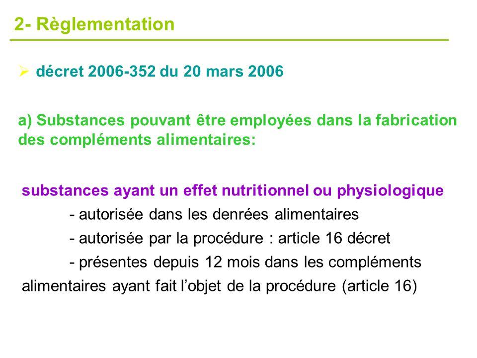 décret 2006-352 du 20 mars 2006 2- Règlementation substances ayant un effet nutritionnel ou physiologique - autorisée dans les denrées alimentaires -