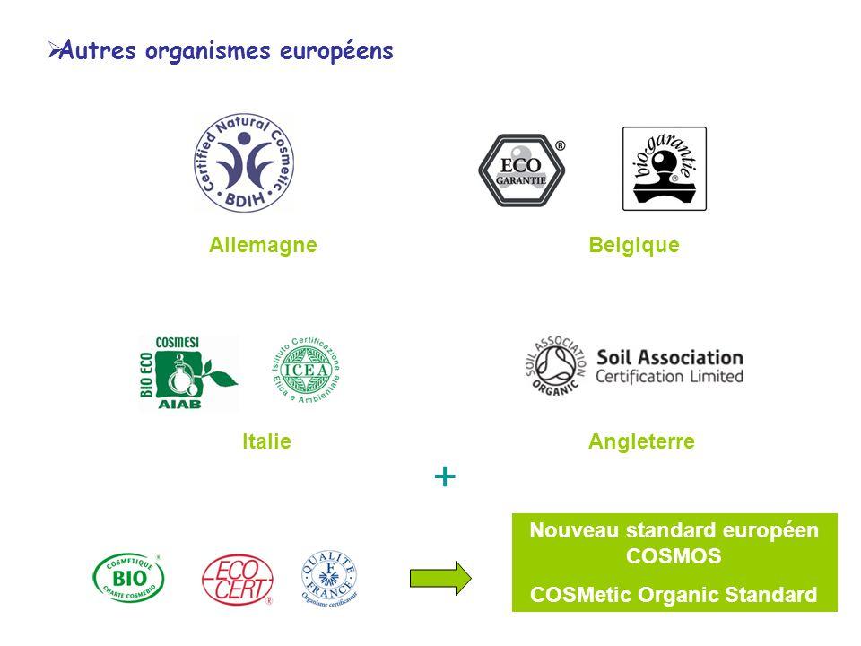 AllemagneBelgique ItalieAngleterre + Nouveau standard européen COSMOS COSMetic Organic Standard Autres organismes européens