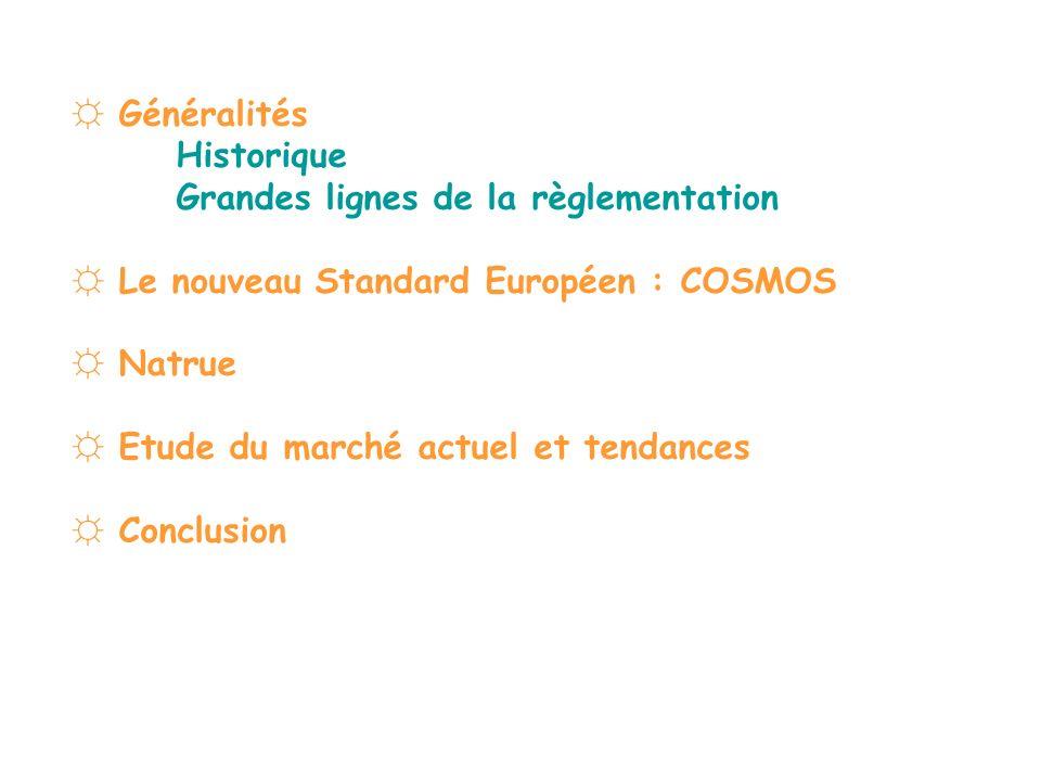 Généralités Historique Grandes lignes de la règlementation Le nouveau Standard Européen : COSMOS Natrue Etude du marché actuel et tendances Conclusion