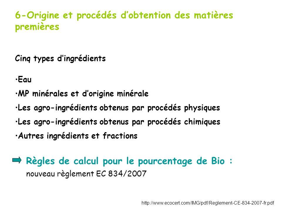 6-Origine et procédés dobtention des matières premières Cinq types dingrédients Eau MP minérales et dorigine minérale Les agro-ingrédients obtenus par procédés physiques Les agro-ingrédients obtenus par procédés chimiques Autres ingrédients et fractions Règles de calcul pour le pourcentage de Bio : nouveau règlement EC 834/2007 http://www.ecocert.com/IMG/pdf/Reglement-CE-834-2007-fr.pdf