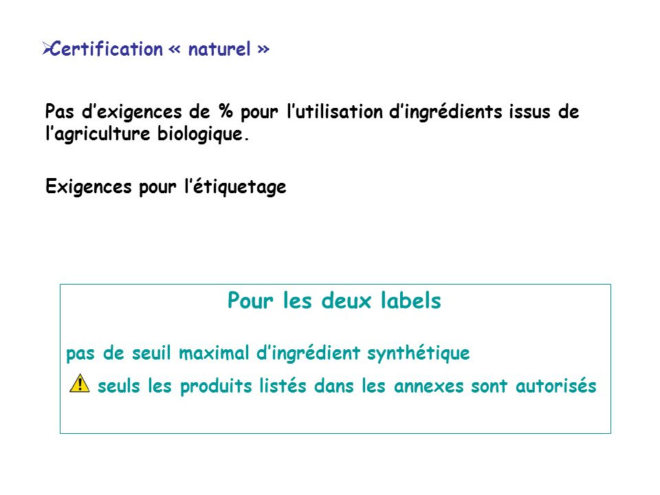 Certification « naturel » Pas dexigences de % pour lutilisation dingrédients issus de lagriculture biologique. Exigences pour létiquetage Pour les deu