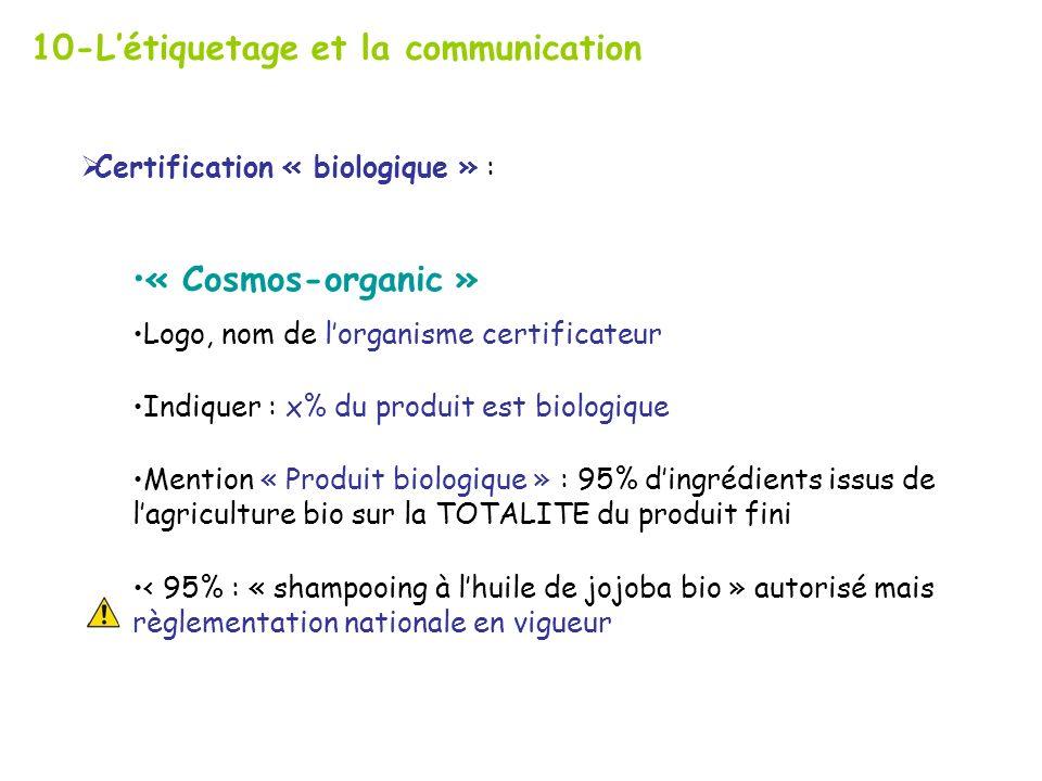 10-Létiquetage et la communication Certification « biologique » : « Cosmos-organic » Logo, nom de lorganisme certificateur Indiquer : x% du produit est biologique Mention « Produit biologique » : 95% dingrédients issus de lagriculture bio sur la TOTALITE du produit fini < 95% : « shampooing à lhuile de jojoba bio » autorisé mais règlementation nationale en vigueur