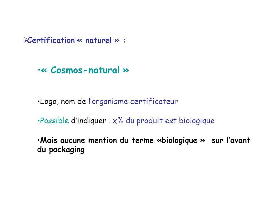 Certification « naturel » : « Cosmos-natural » Logo, nom de lorganisme certificateur Possible dindiquer : x% du produit est biologique Mais aucune men