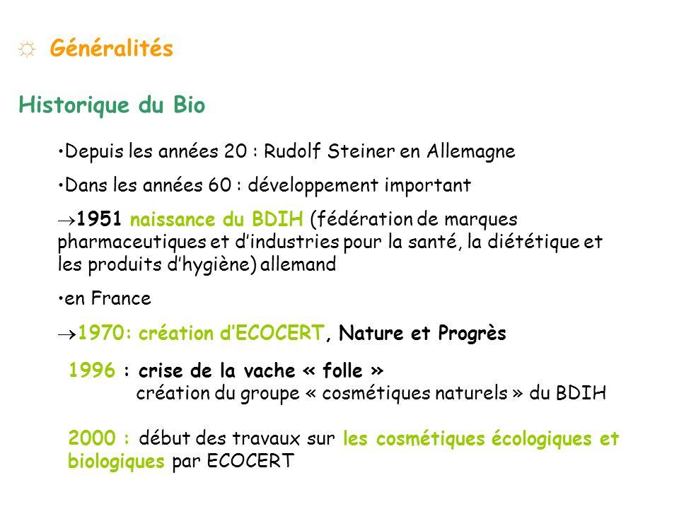 Généralités Historique du Bio Depuis les années 20 : Rudolf Steiner en Allemagne Dans les années 60 : développement important 1951 naissance du BDIH (