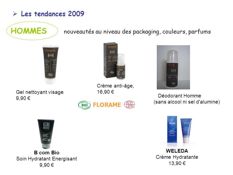 Les tendances 2009 HOMMES nouveautés au niveau des packaging, couleurs, parfums Gel nettoyant visage 9,90 Déodorant Homme (sans alcool ni sel d'alumin