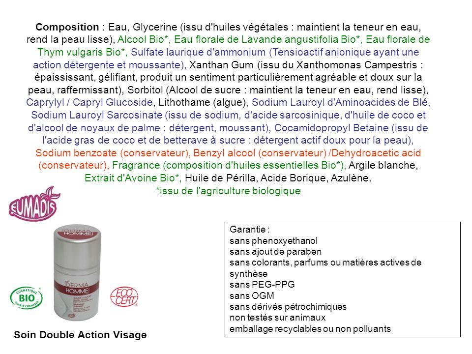 Composition : Eau, Glycerine (issu d'huiles végétales : maintient la teneur en eau, rend la peau lisse), Alcool Bio*, Eau florale de Lavande angustifo