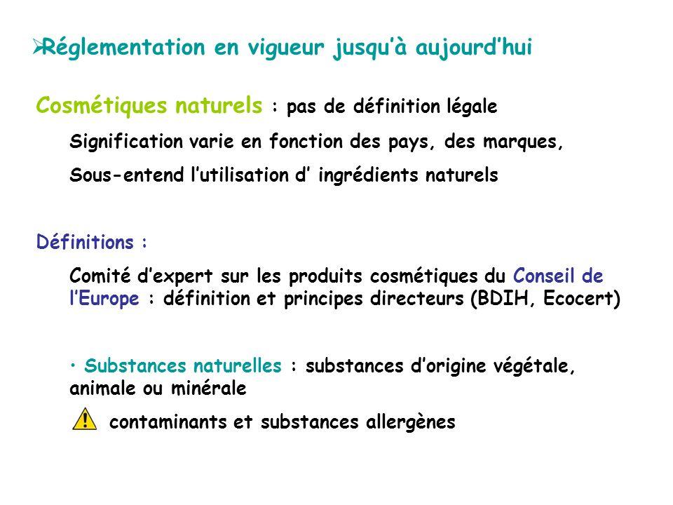 Cosmétiques naturels : pas de définition légale Signification varie en fonction des pays, des marques, Sous-entend lutilisation d ingrédients naturels