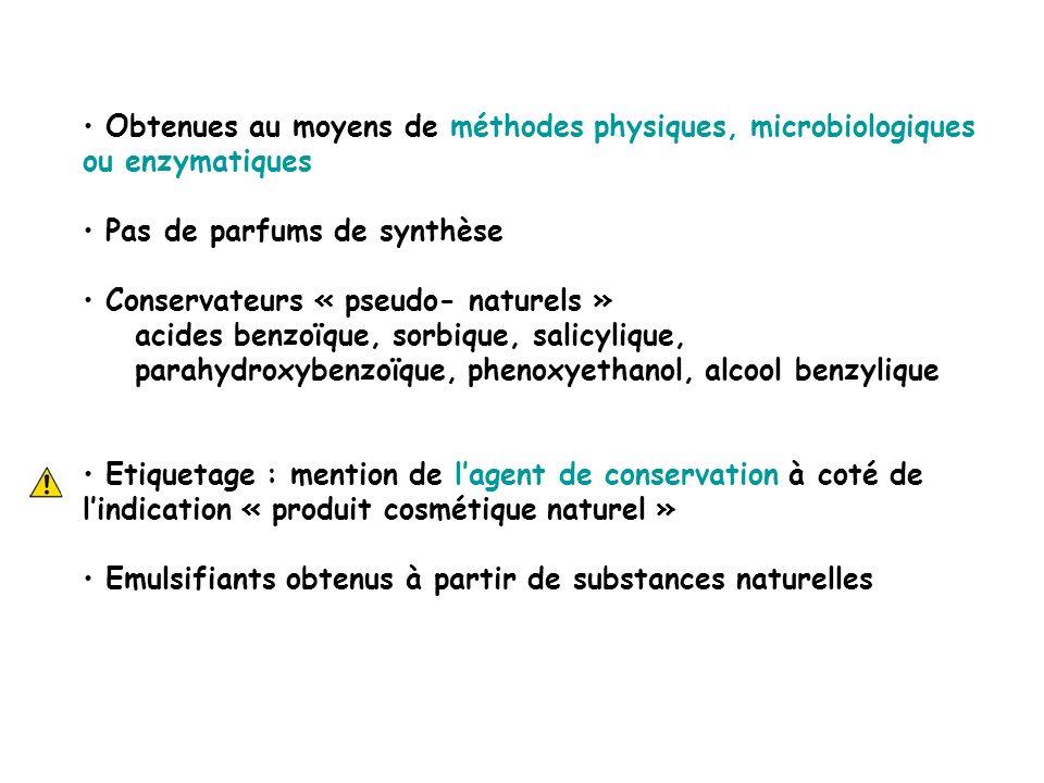 Obtenues au moyens de méthodes physiques, microbiologiques ou enzymatiques Pas de parfums de synthèse Conservateurs « pseudo- naturels » acides benzoï