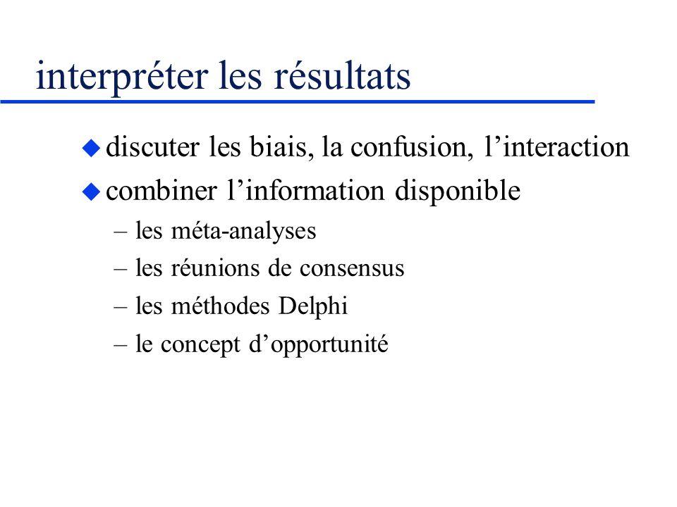 interpréter les résultats discuter les biais, la confusion, linteraction combiner linformation disponible –les méta-analyses –les réunions de consensu