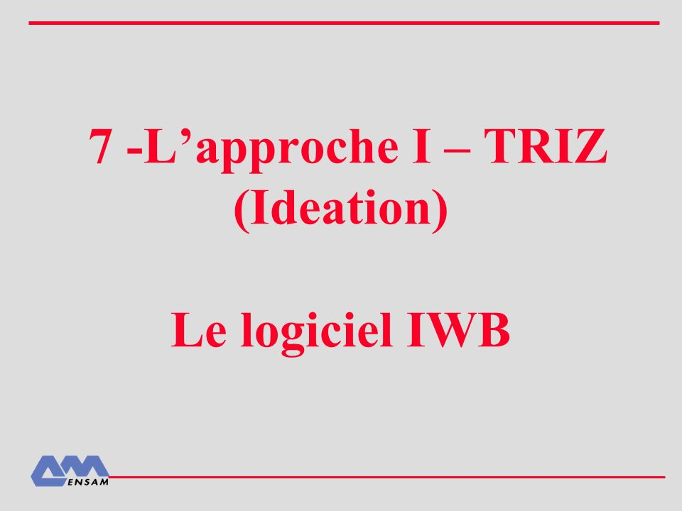 7 -Lapproche I – TRIZ (Ideation) Le logiciel IWB