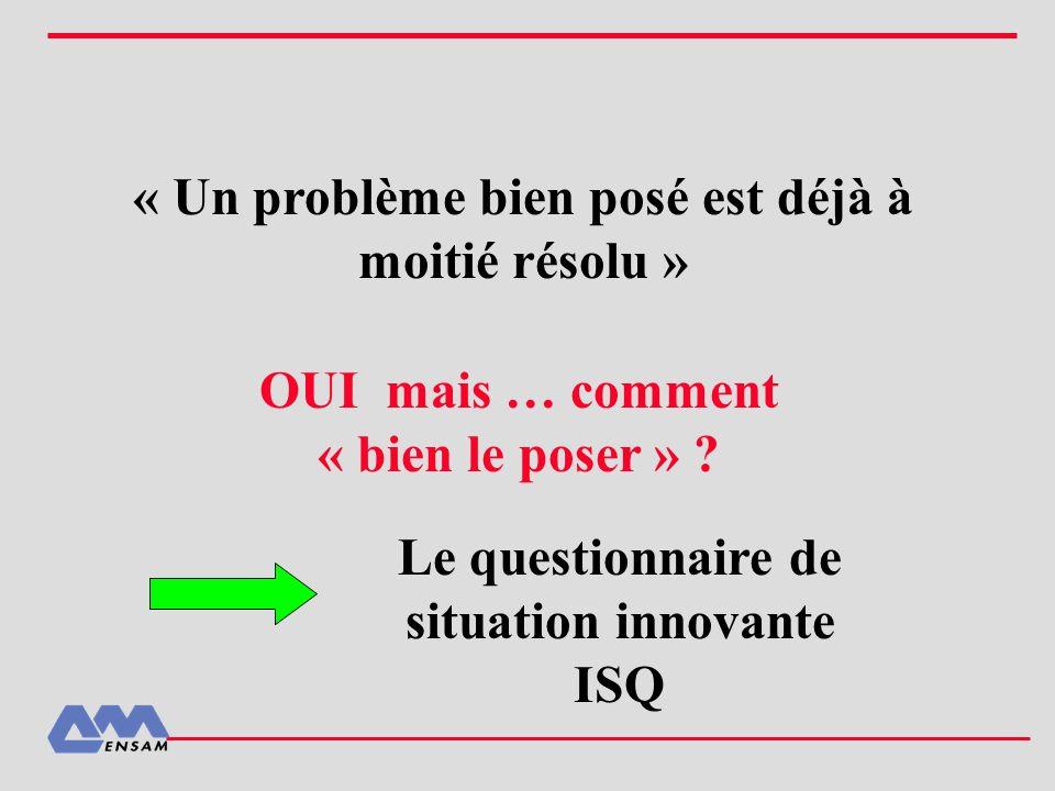 « Un problème bien posé est déjà à moitié résolu » OUI mais … comment « bien le poser » ? Le questionnaire de situation innovante ISQ