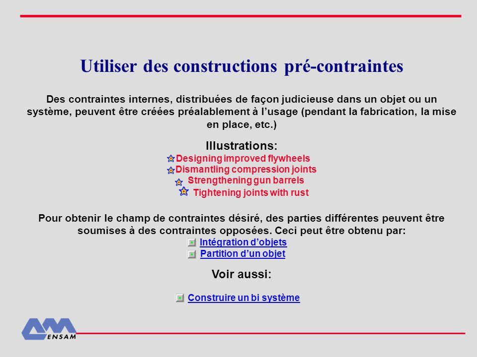 Utiliser des constructions pré-contraintes Des contraintes internes, distribuées de façon judicieuse dans un objet ou un système, peuvent être créées