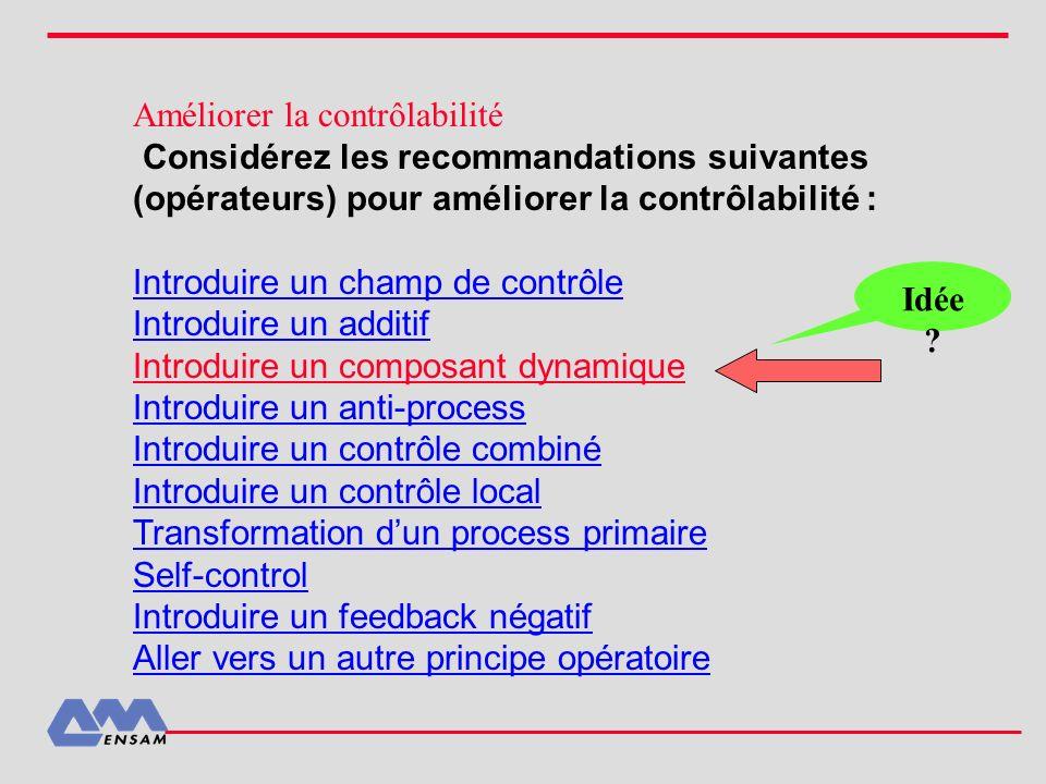 Améliorer la contrôlabilité Considérez les recommandations suivantes (opérateurs) pour améliorer la contrôlabilité : Introduire un champ de contrôle I