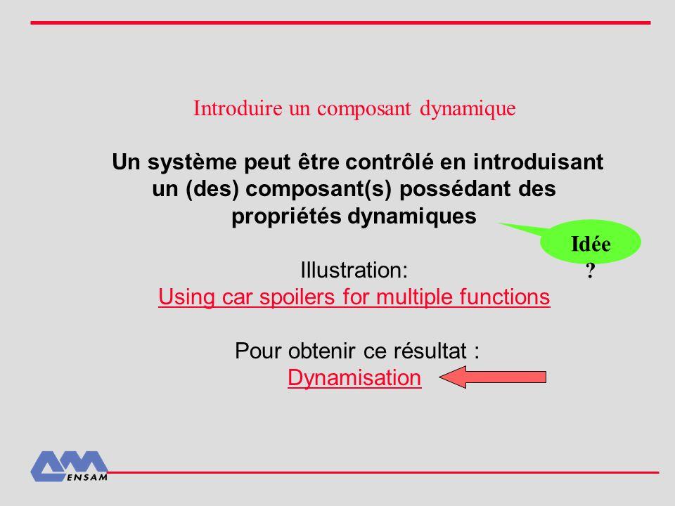 Introduire un composant dynamique Un système peut être contrôlé en introduisant un (des) composant(s) possédant des propriétés dynamiques Illustration