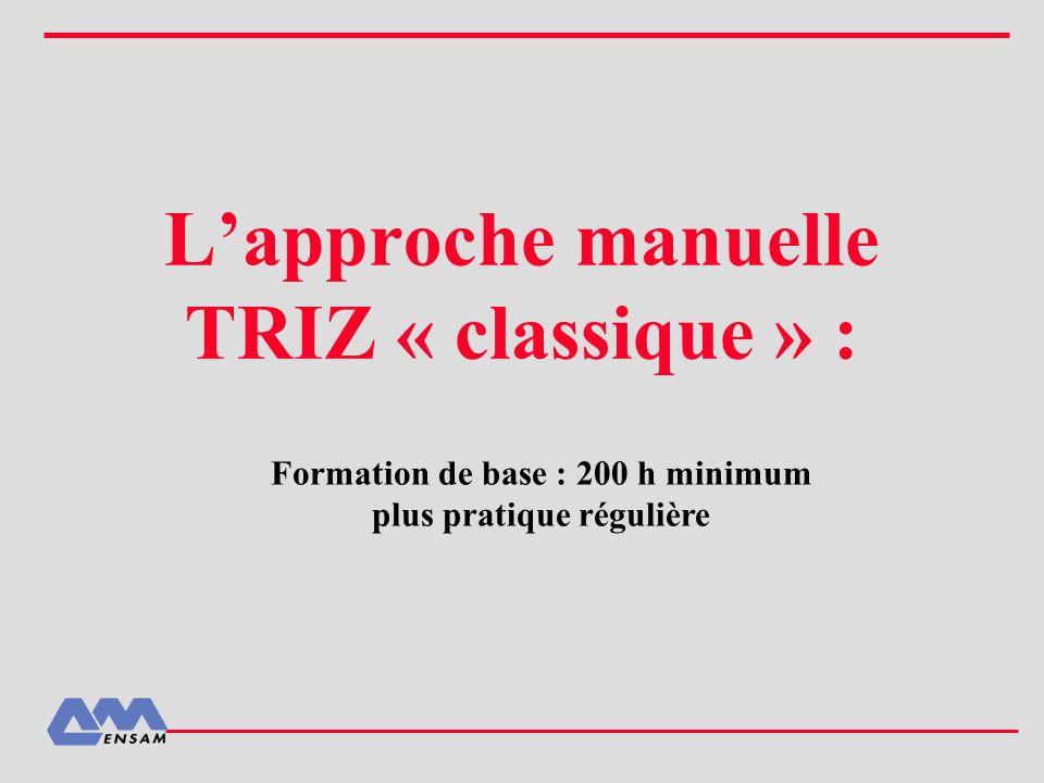 Lapproche manuelle TRIZ « classique » : Formation de base : 200 h minimum plus pratique régulière