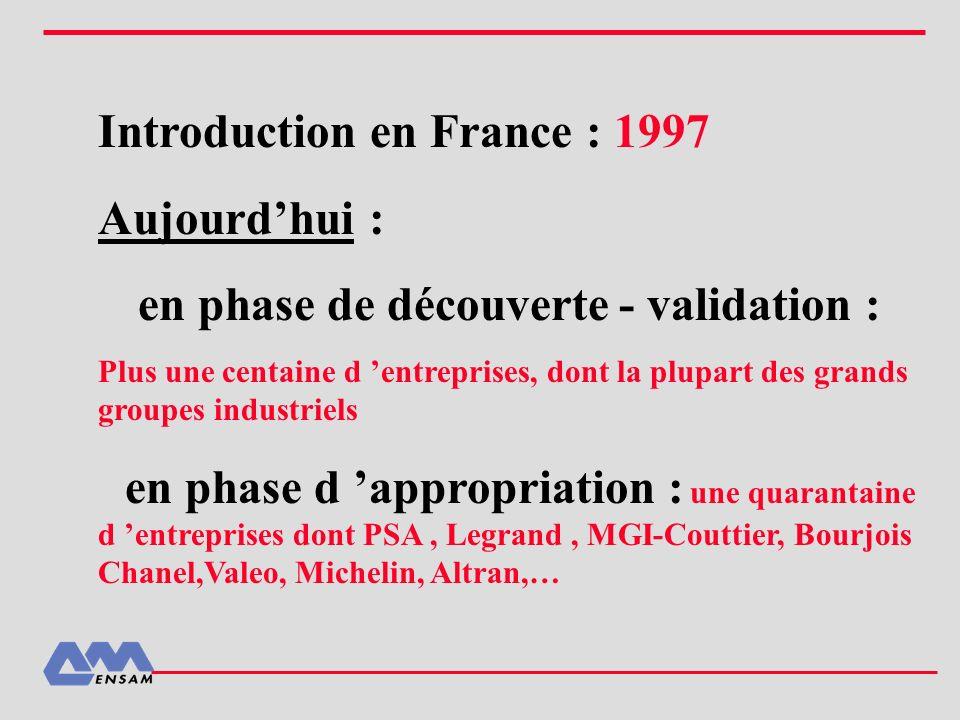 Introduction en France : 1997 Aujourdhui : en phase de découverte - validation : Plus une centaine d entreprises, dont la plupart des grands groupes i