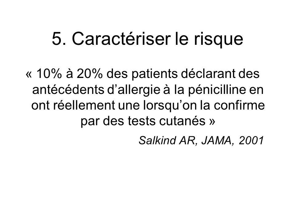 « 10% à 20% des patients déclarant des antécédents dallergie à la pénicilline en ont réellement une lorsquon la confirme par des tests cutanés » Salkind AR, JAMA, 2001 5.