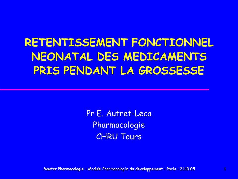 Master Pharmacologie - Module Pharmacologie du développement - Paris - 21.10.0512 Données personnelles 2004 Manifestations cliniques Imprégnation BZD BZD seule (55,5%) vs BZD + psychotrope (40%) p=0,48 oxazépam (27%) vs autres BZD (49%) p=0,31 posologie N (32,5%) vs suprathérapeutique (50%) p=0,46