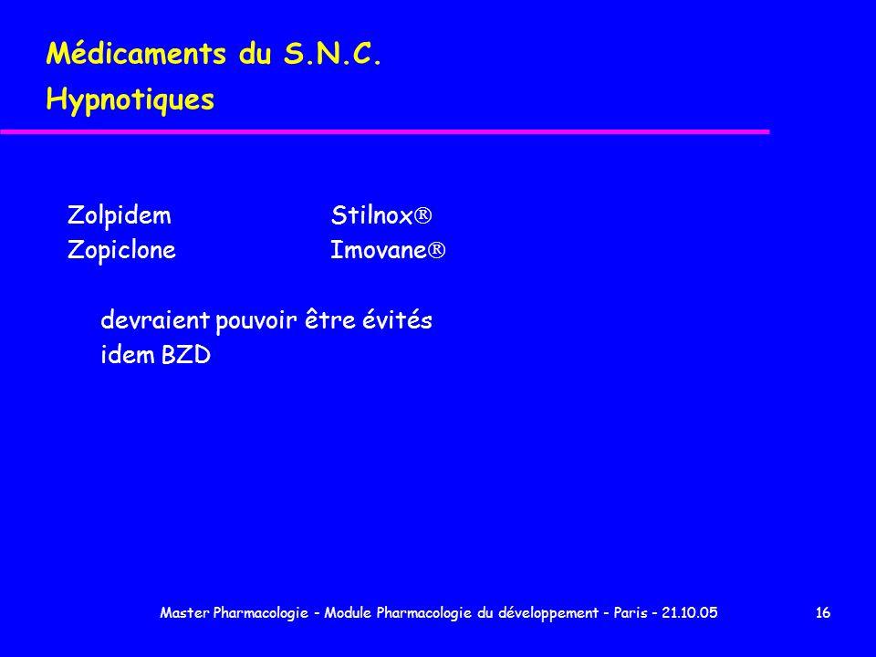 Master Pharmacologie - Module Pharmacologie du développement - Paris - 21.10.0516 Médicaments du S.N.C. Hypnotiques ZolpidemStilnox ZopicloneImovane d