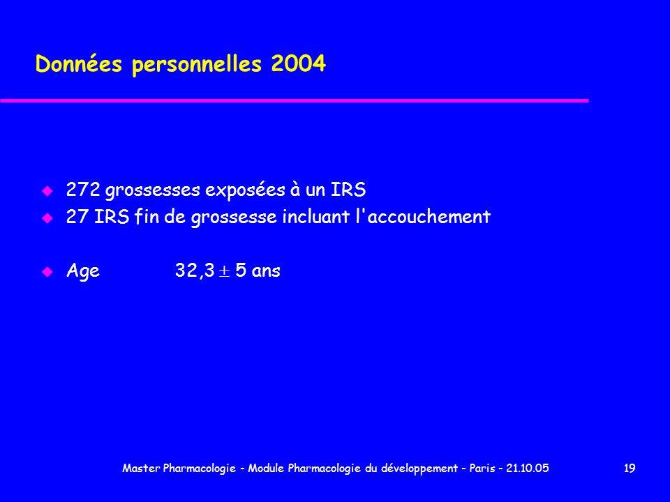 Master Pharmacologie - Module Pharmacologie du développement - Paris - 21.10.0519 Données personnelles 2004 u 272 grossesses exposées à un IRS u 27 IR