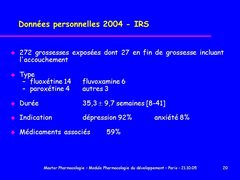 Master Pharmacologie - Module Pharmacologie du développement - Paris - 21.10.0520 Données personnelles 2004 - IRS u 272 grossesses exposées dont 27 en