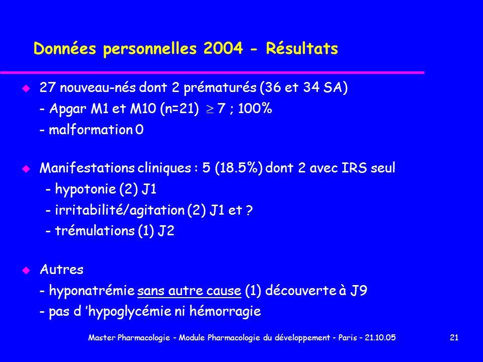 Master Pharmacologie - Module Pharmacologie du développement - Paris - 21.10.0521 Données personnelles 2004 - Résultats u 27 nouveau-nés dont 2 prémat