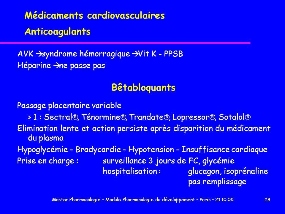 Master Pharmacologie - Module Pharmacologie du développement - Paris - 21.10.0528 Médicaments cardiovasculaires Anticoagulants AVK syndrome hémorragiq