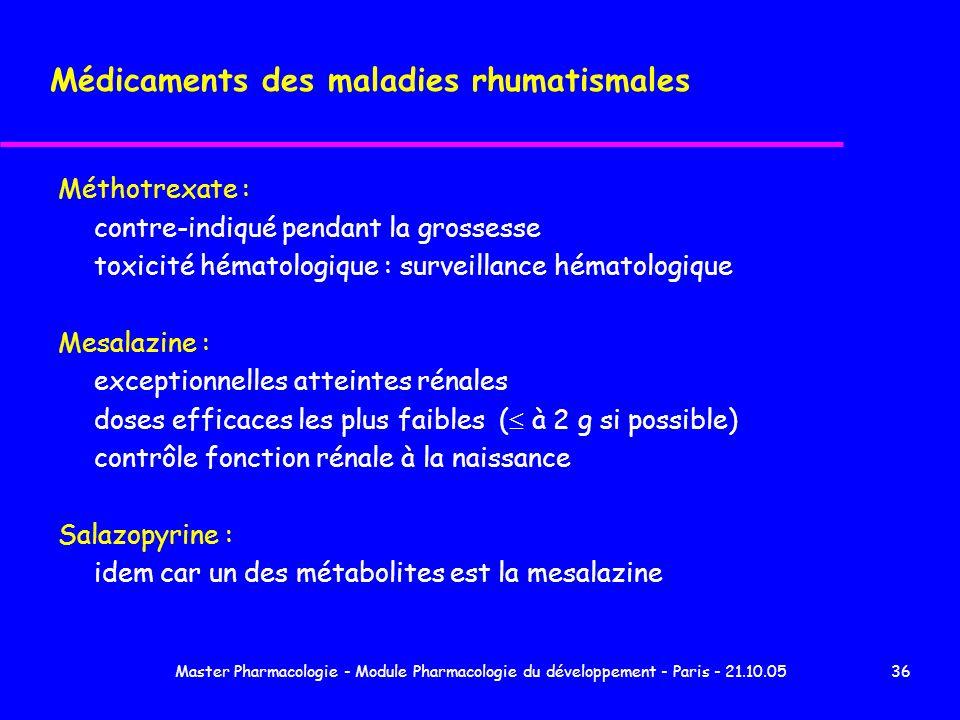 Master Pharmacologie - Module Pharmacologie du développement - Paris - 21.10.0536 Médicaments des maladies rhumatismales Méthotrexate : contre-indiqué