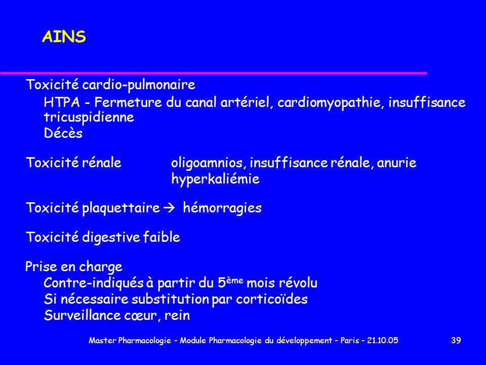 Master Pharmacologie - Module Pharmacologie du développement - Paris - 21.10.0539 AINS Toxicité cardio-pulmonaire HTPA - Fermeture du canal artériel,
