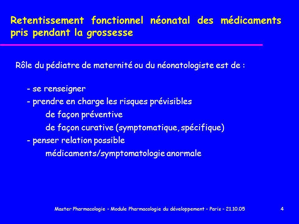 Master Pharmacologie - Module Pharmacologie du développement - Paris - 21.10.0555 1 - Risque inévitable lié à leffet pharmacologique du médicament et dose dépendant 2 - Type d effet : - imprégnation fréquente - sevrage plus rare (T1/2 longue) 3 - Durée des signes dépend : - de la dose - T1/2 chez nouveau-né 4 - Expositions les plus fréquentes - bêtabloquant et de + en + I.